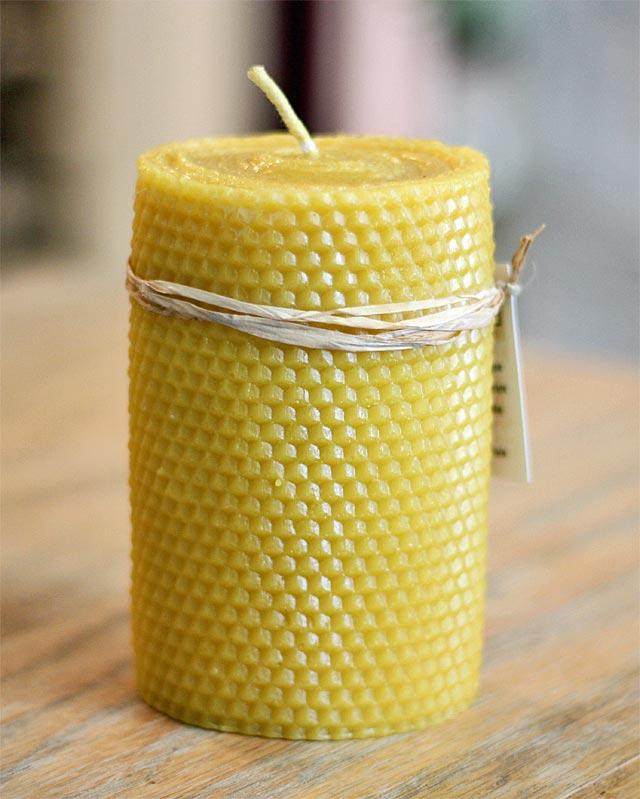Chandelles de cire d'abeille - Grandes alvéoles